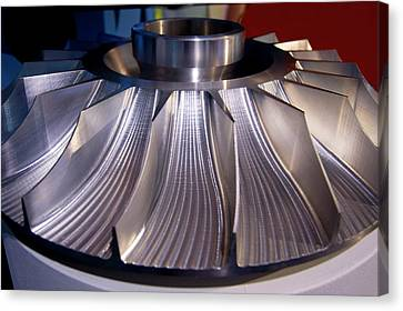 Aluminium Impeller Fan Canvas Print by Mark Williamson