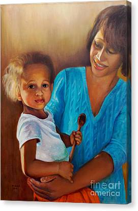 Canvas Print featuring the painting Always In Her Heart And In Her Hands by Marlene Book