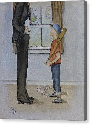 Am I In Trouble Dad... Broken Window Canvas Print by Kelly Mills