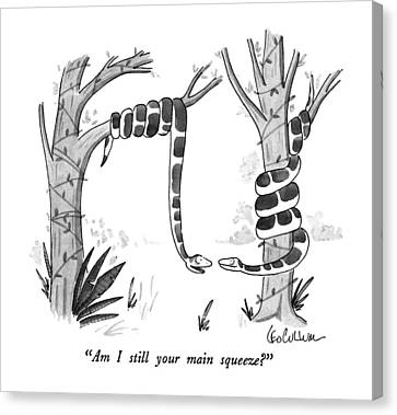 Boa Constrictor Canvas Print - Am I Still Your Main Squeeze? by Leo Cullum