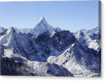 Ama Dablam Mountain Seen From The Summit Of Kala Pathar In The Everest Region Of Nepal Canvas Print by Robert Preston