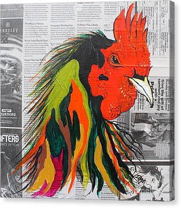 Canvas Print featuring the painting Amadeo The Tuscan Rooster by Janice Rae Pariza