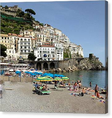 Amalfi Beach Canvas Print by Marilyn Dunlap