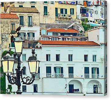 Canvas Print featuring the photograph Amalfi Birds And Lamps by Cheryl Del Toro
