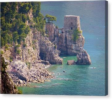 Amalfi Coast Watchtower Canvas Print by Marilyn Dunlap