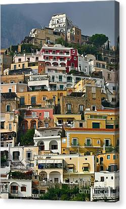 Canvas Print featuring the photograph Amalfi Houses by Henry Kowalski