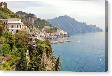 Amalfi Panorama With Flowers Canvas Print by Marilyn Dunlap