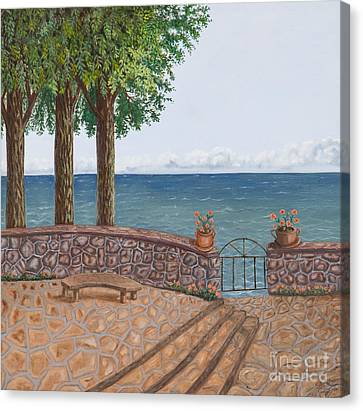 Amalfi Terrace Over Looking The Sea Canvas Print by Stevie Stefano