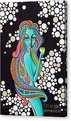 Canvas Print featuring the painting Amanda  Groovy Chick Series by Joseph Sonday