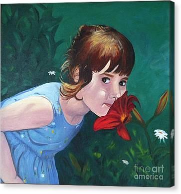 Amanda Smells The Flower Canvas Print