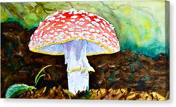 Amanita And Lacewing Canvas Print by Beverley Harper Tinsley