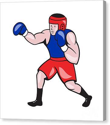 Amateur Boxer Boxing Cartoon Canvas Print by Aloysius Patrimonio