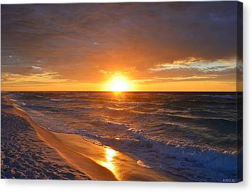 Amazing Sunrise Colors And Waves On Navarre Beach Canvas Print by Jeff at JSJ Photography