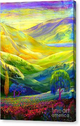 Weeping Willow Canvas Print -  Wildflower Meadows, Amber Skies by Jane Small
