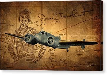 Pioneers Canvas Print - Amelia Earhart by Dale Jackson
