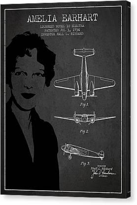 Amelia Earhart Canvas Print - Amelia Earhart Lockheed Airplane Patent From 1934 - Dark by Aged Pixel