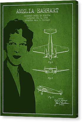 Amelia Earhart Canvas Print - Amelia Earhart Lockheed Airplane Patent From 1934 - Green by Aged Pixel