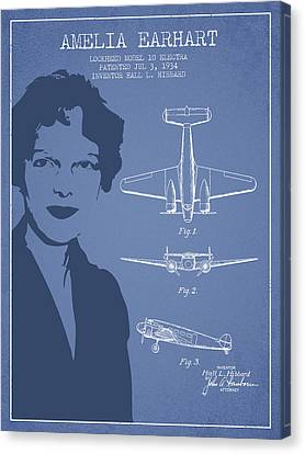 Lockheed Aircraft Canvas Print - Amelia Earhart Lockheed Airplane Patent From 1934 - Light Blue by Aged Pixel