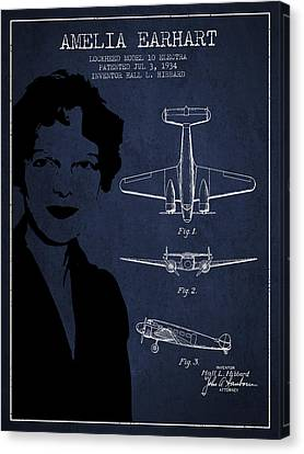 Amelia Earhart Canvas Print - Amelia Earhart Lockheed Airplane Patent From 1934 - Navy Blue by Aged Pixel