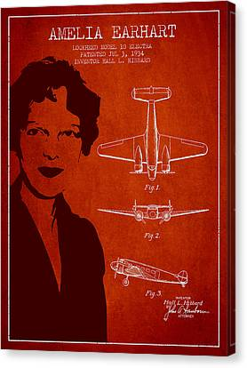 Amelia Earhart Canvas Print - Amelia Earhart Lockheed Airplane Patent From 1934 - Red by Aged Pixel