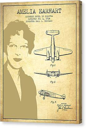 Amelia Earhart Canvas Print - Amelia Earhart Lockheed Airplane Patent From 1934 - Vintage by Aged Pixel