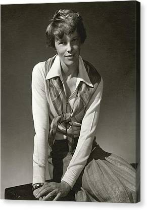 Amelia Earhart Canvas Print - Amelia Earhart Wearing A Scarf by Edward Steichen