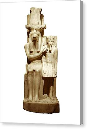 Amenhotep IIi And God Sobek. S.xiv Bc Canvas Print