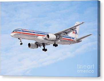 Amercian Airlines Boeing 757 Airplane Landing Canvas Print