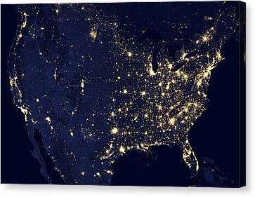America At Night Canvas Print