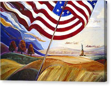Stars And Stripes Canvas Print - America by Jen Norton