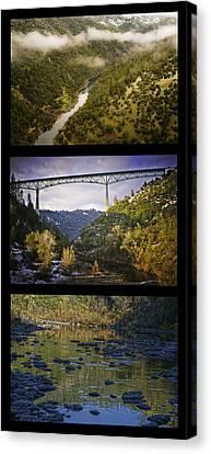 American River Triptych Canvas Print