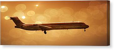 Airplanes Canvas Print featuring the photograph American Airlines Md80  by Aaron Berg