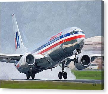 American Airlines Taking Off Canvas Print