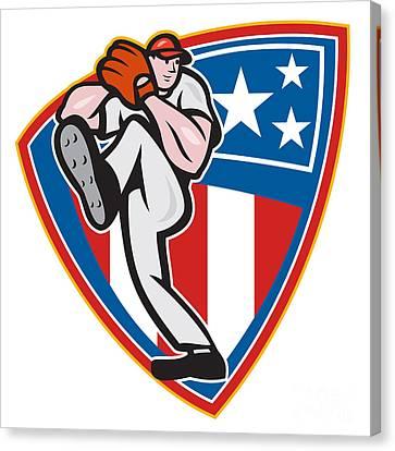 American Baseball Pitcher Shield Canvas Print by Aloysius Patrimonio