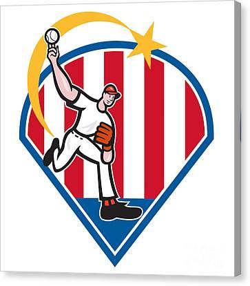 American Baseball Pitcher Star Canvas Print by Aloysius Patrimonio