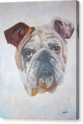 Canvas Print featuring the painting American Bulldog Pet Portrait by Tracey Harrington-Simpson