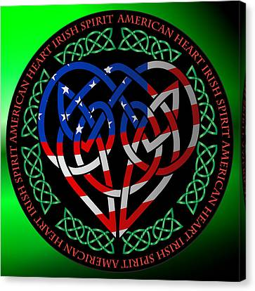 Canvas Print featuring the digital art American Celtic Heart by Ireland Calling