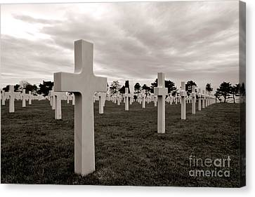 Historic Site Canvas Print - American Cemetery In Normandy  by Olivier Le Queinec