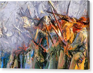 American Civil War - Abstract Expressionism Canvas Print by Georgiana Romanovna