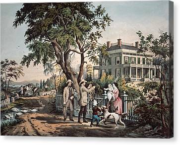 Colonial Man Canvas Print - American Country Life  October Afternoon, 1855  by Currier and Ives
