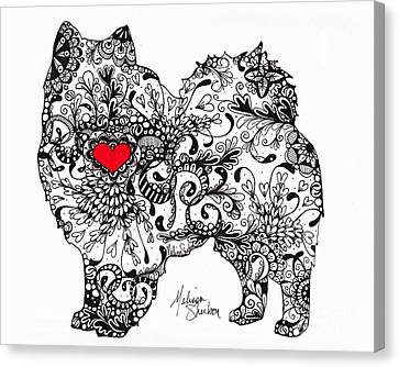 Canvas Print featuring the drawing American Eskimo by Melissa Sherbon