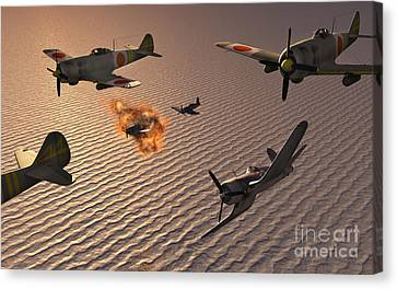 American F4u Corsair Aircraft Attacking Canvas Print