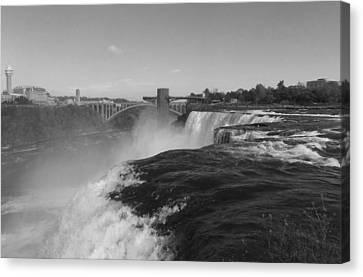 American Falls From Luna Island B N W Canvas Print