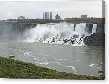American Falls November Morning Canvas Print by Barbara McDevitt