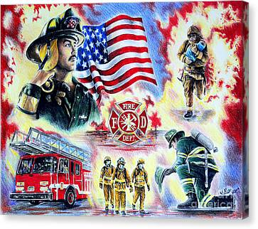 Flag Day Canvas Print - American Firefighters by Andrew Read