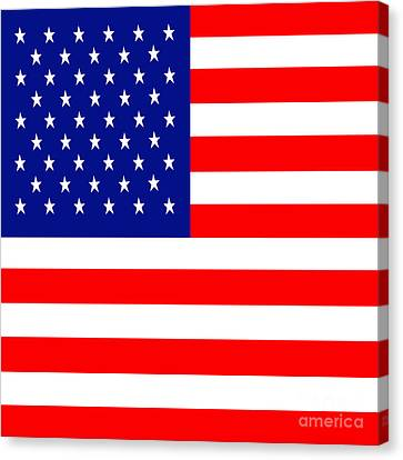 American Flag . Square Canvas Print by Wingsdomain Art and Photography