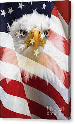 American Flag And Bald Eagle Montage Canvas Print by Tim Gainey