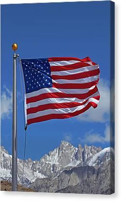 Snow Flag Canvas Print - American Flag And Snow On Sierra Nevada by David Wall