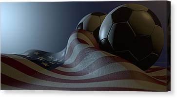 Fabric Canvas Print - American Flag And Soccer Ball by Allan Swart
