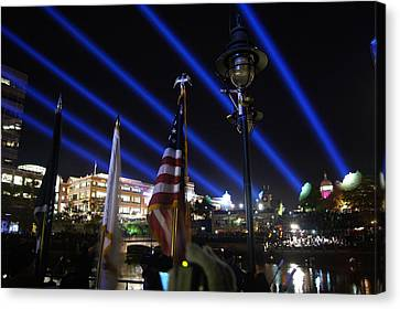 American Flag At Waterfire Canvas Print